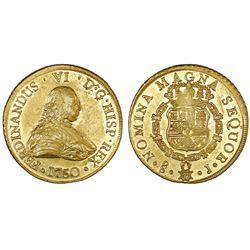 Santiago, Chile, gold bust 8 escudos, Ferdinand VI, 1750J, NGC AU 55 / La Luz.