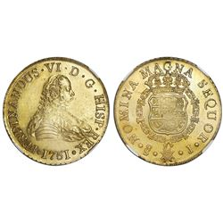 Santiago, Chile, gold bust 8 escudos, Ferdinand VI, 1751J, NGC MS 61 / La Luz.