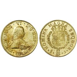 Santiago, Chile, gold bust 8 escudos, Ferdinand VI, 1751J, in promotional box with silver replica of