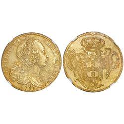 Brazil (Rio mint), gold 6400 reis, Jose I, 1753-R, NGC UNC details / saltwater damage.