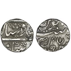 India (Madras Presidency), Arkot mint, 1 rupee, regnal year 6 (frozen date / ca. 1759-82), open lotu