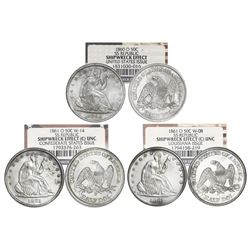 Set of three USA (New Orleans mint) Seated Liberty half dollar, NGC Shipwreck Effect / SS Republic,