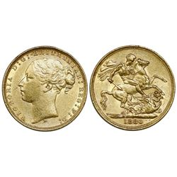 Melbourne, Australia, sovereign, Victoria (young head), 1880-M.