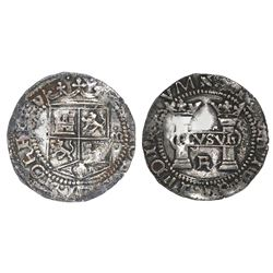 Mexico City, Mexico, 1 real, Charles-Joanna,  Early Series,  assayer R (Gothic) at bottom between pi