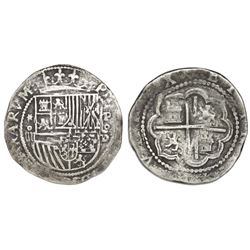 Lima, Peru, cob 4 reales, Philip II, assayer Diego de la Torre, *-oiiii to left, P-oD to right.