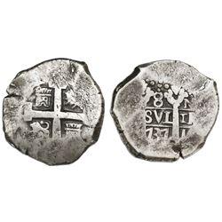 Lima, Peru, cob 8 reales, 1737N.