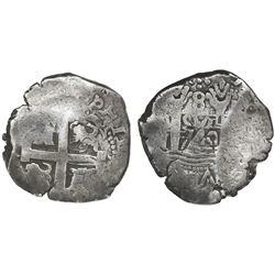 Lima, Peru, cob 8 reales, 1740N, very rare.