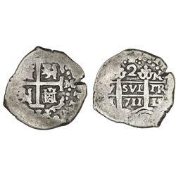 Lima, Peru, cob 2 reales, 1711/0M, very rare.