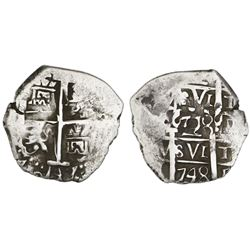 Lima, Peru, cob 2 reales, 1748+47V, Ferdinand VI, very rare.