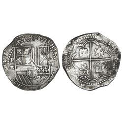 Potosi, Bolivia, cob 8 reales, Philip II, assayer B (3rd period), tiny-B variety.