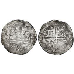 Potosi, Bolivia, cob 8 reales, Philip II, assayer B (4th period), error denomination o-VIIII (very r
