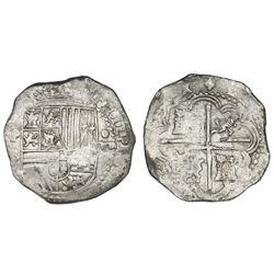 Potosi, Bolivia, cob 8 reales, Philip II, assayer B (late 4th period).