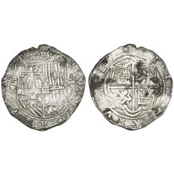 Potosi, Bolivia, cob 8 reales, Philip II, assayer B (early 5th period?).