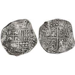"""Potosi, Bolivia, cob 8 reales, 1620T, mintmark retrograde P over normal P (""""phi""""), quadrants of cros"""