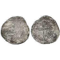 Potosi, Bolivia, cob 8 reales, (1623?)T/P, quadrants of cross transposed.