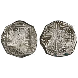 Potosi, Bolivia, cob 8 reales, Philip IV, assayer P (early to mid-1620s), quadrants of cross transpo