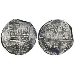 Potosi, Bolivia, cob 8 reales, Philip IV, assayer P/T (early 1620s), quadrants of cross transposed.