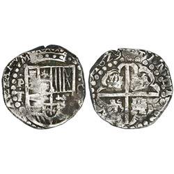 Potosi, Bolivia, cob 8 reales, 1629T, denomination 8, heavy-dot borders.