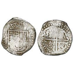 Potosi, Bolivia, cob 8 reales, (16)29T, denomination 8, heavy-dot borders, ex-Panama hoard (ca. 1629