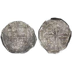 Potosi, Bolivia, cob 8 reales 1629(T), denomination 8, fine-dot borders, NGC VF 35.