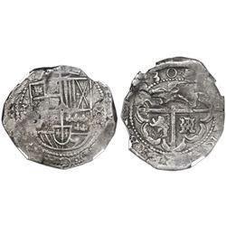 Potosi, Bolivia, cob 8 reales, 1630(T), NGC VF 25.