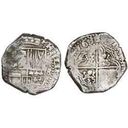 Potosi, Bolivia, cob 8 reales, 1633(T).