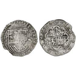 Potosi, Bolivia, cob 4 reales, Philip II, assayer R (Rincon) below mintmark P to left.