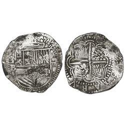 Potosi, Bolivia, cob 4 reales, Philip II, assayer B (early 5th period?).