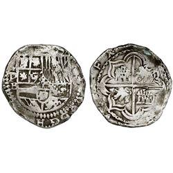 Potosi, Bolivia, cob 4 reales, Philip II, assayer B (5th period), border of x's on reverse.
