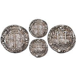 Potosi, Bolivia, cob 8 reales Royal (galano), 1654E, dot-PH-dot at top of pillars, dot-8-dot at top