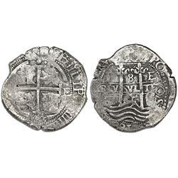 Potosi, Bolivia, cob 8 reales, 1665E, date below cross as 665.