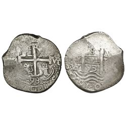 Potosi, Bolivia, cob 8 reales, 1693VR.