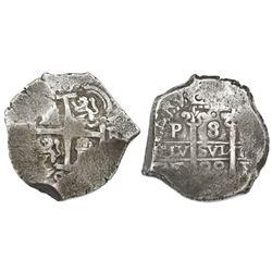 Potosi, Bolivia, cob 8 reales, 1699F.