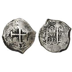 Potosi, Bolivia, cob 8 reales, 1737M.