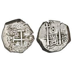 Potosi, Bolivia, cob 8 reales, 1764V-Y.