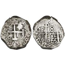 Potosi, Bolivia, cob 8 reales, 1765Y-Y-V.