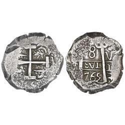 Potosi, Bolivia, cob 8 reales, 1765V-Y.