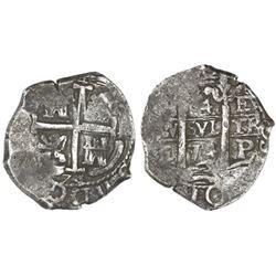 Potosi, Bolivia, cob 4 reales, 1674E, rare.