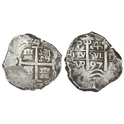 Potosi, Bolivia, cob 4 reales, 1697VR.