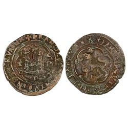 Santo Domingo, Dominican Republic, copper 4 maravedis, Emperor Charles V (Charles I of Spain), assay