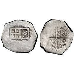 Cartagena, Colombia, cob 8 reales, assayer not visible (E ) below mintmark ( R)N to left (late 1620s