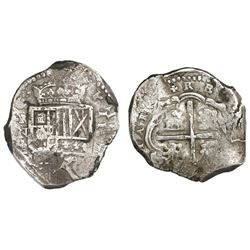 Cartagena, Colombia, cob 4 reales, Philip IV, assayer E below mintmark RN to left (late 1620s), rare