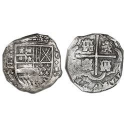 Cartagena, Colombia, cob 4 reales, Philip IV, assayer E below mintmark C to right (1630s), rare, NGC