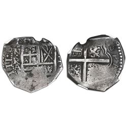 Bogota, Colombia, cob 2 reales, Philip IV, assayer A below mintmark NR to left (1632-42), castles an