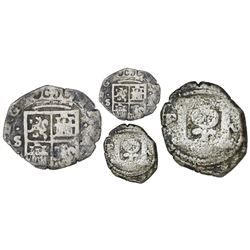 Bogota, Colombia, billon cob 1/4 real, date not visible (1622), assayer A to right and mintmark S to