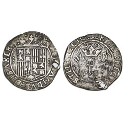 Seville, Spain (struck for New World), 1 real, Ferdinand-Isabel, three dots vertically flanking shie