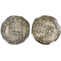 Burgos, Spain, 1 real, Ferdinand-Isabel, mintmark B below yoke and arrows, scallop and cross-potent