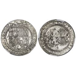 Granada, Spain, 1 real, Ferdinand-Isabel, assayer o flanking shield, mintmark Gothic G at bottom on