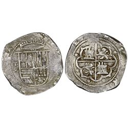 Toledo, Spain, cob 8 reales, Philip II, assayer M-in-circle below mintmark oT to left.