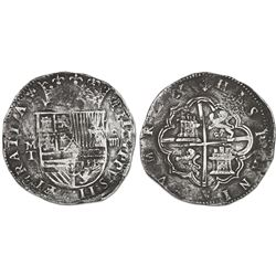 Toledo, Spain, cob 4 reales, Philip II, assayer M above mintmark T to left.